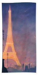 Eiffel Tower Hand Towel by Blue Sky