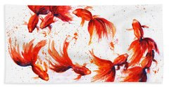 Eight Dancing Goldfish  Bath Towel by Zaira Dzhaubaeva