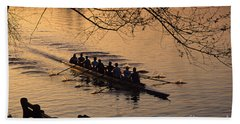 Eight Man Crew Rowing Along Montlake Cut  Hand Towel