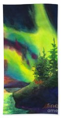 Hand Towel featuring the painting Electric Green In The Sky 2 by Kathy Braud