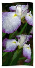 Elegant Purple Iris Hand Towel by Marie Hicks