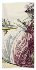 Elegant Woman In A Dress A Langlaise Hand Towel