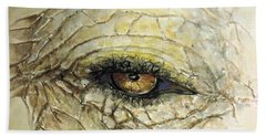 Hand Towel featuring the painting Elephant Eye by Bernadette Krupa