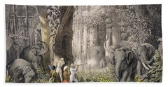 Elephant Hunt In The Region Of Logalla Bath Towel