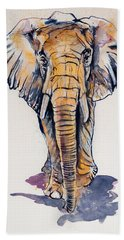 Elephant In Gold Hand Towel by Kovacs Anna Brigitta