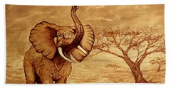 Elephant Majesty Original Coffee Painting Bath Towel by Georgeta  Blanaru