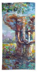 Hand Towel featuring the painting Elephant Thirst by Bernadette Krupa