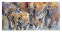 Hand Towel featuring the painting Elephant Walk by Bernadette Krupa