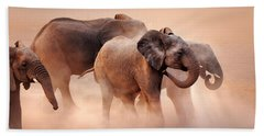Elephants In Dust Hand Towel