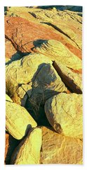 Elevated View Of Rock Formations Bath Towel