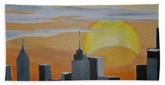 Bath Towel featuring the painting Elipse At Sunrise by Donna Blossom