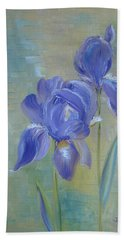 Hand Towel featuring the painting Elizabeth's Irises by Judith Rhue