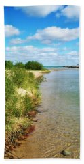 Elk River With Fluffy Clouds Bath Towel