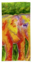 Hand Towel featuring the painting Elle by Beth Saffer