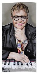 Elton John Hand Towel by Melanie D