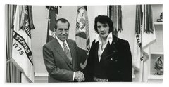 Elvis And Nixon Hand Towel by Unknown