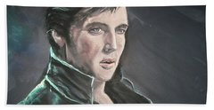 Hand Towel featuring the mixed media Elvis by Peter Suhocke