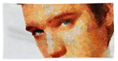 Bath Towel featuring the painting Elvis Presley The King Of Rock Music by Georgi Dimitrov