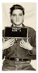 Elvis Presley - Mugshot Hand Towel by Bill Cannon