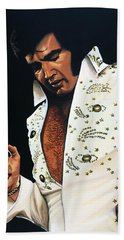 Elvis Presley Painting Hand Towel by Paul Meijering