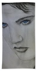 Elvis's Blue Eyes Hand Towel by Kelly Mills