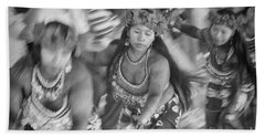 Embera Villagers In Panama As Black And White Hand Towel