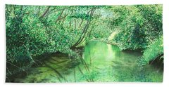 Hand Towel featuring the painting Emerald Stream by Lynn Quinn