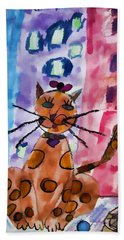 Emma's Spotted Kitty Hand Towel by Alice Gipson