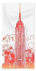 Empire State Building And Manhattan Skyline Sketch Bath Towel
