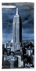 Empire State Building Blimp Docking Blue Hand Towel