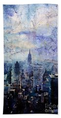 Empire State Building In Blue Hand Towel by Ryan Fox