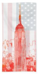 Empire State Building On American Flag Hand Towel