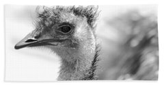 Emu - Black And White Hand Towel by Carol Groenen