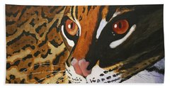 Endangered - Ocelot Bath Towel by Mike Robles