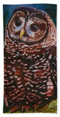 Endangered - Spotted Owl Hand Towel by Mike Robles