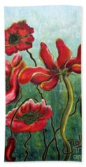 Endless Poppy Love Bath Towel by Jolanta Anna Karolska