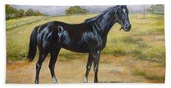 English Horse - Black Huzar Bath Towel