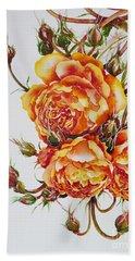 English Roses Hand Towel by Zaira Dzhaubaeva