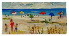 Hand Towel featuring the painting Enjoying Siesta Beach by Lou Ann Bagnall