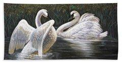 Enjoying The Trumpeter Swans Hand Towel