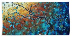 Enormous Abstract Bird Art Original Painting Where The Heart Is By Madart Hand Towel
