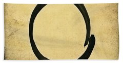 Enso #4 - Zen Circle Abstract Sand And Black Hand Towel