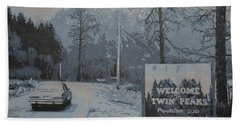 Bath Towel featuring the painting Entering The Town Of Twin Peaks 5 Miles South Of The Canadian Border by Luis Ludzska