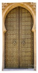 Entrance Door To The Mausoleum Mohammed V Rabat Morocco Hand Towel by Ralph A  Ledergerber-Photography