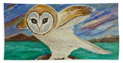 Equinox Owl Hand Towel by Victoria Lakes