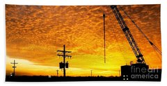 Erecting A Sunset In Beaumont Texas Bath Towel