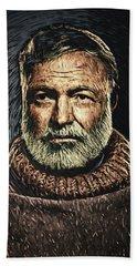 Ernest Hemingway Hand Towel by Taylan Apukovska