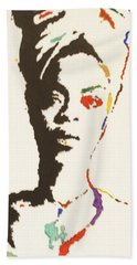 Hand Towel featuring the painting Erykah Badu by Stormm Bradshaw