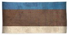 Estonia Flag Vintage Distressed Finish Bath Towel