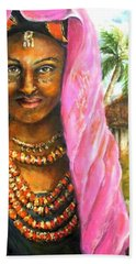 Hand Towel featuring the painting Ethiopia Bride by Bernadette Krupa